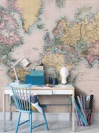 vintage world map wall mural for home office decoration with small table design ideas