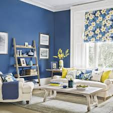 Yellow And Blue Living Room Modern Blue Living Room With Forsythia Yellow Accents Ideal Home