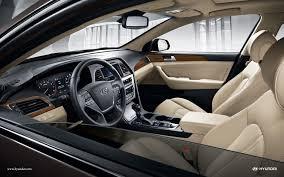 interior of 2017 hyundai sonata with beige leather seats