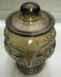 image 5 vintage amber glass owl large cookie jar jars australia