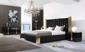 black modern bedroom furniture.  Black Modrest Token Modern Black U0026 Gold Bedroom Set In Furniture F