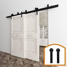 homedeco hardware 5 16 ft byp barn door hardware double door kit rustic black steel