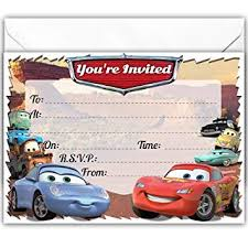 Car Birthday Invitations Pack Of 20 Glossy Birthday Party Invitations Cards Inspired By Cars With 20 X Envelopes For Boys And Girls For Children Cars Animated Movie Cars