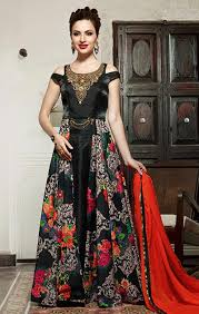 Designer Gowns For Indian Wedding Western Gown Latest Designer Black Floral Printed Gown With