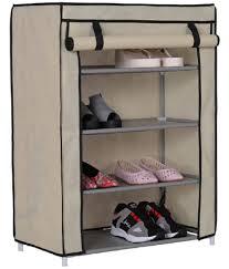 foldable shoe rack closet organizer multipurpose 4 layer storage organizer shoe cabinet 1 side pocket with