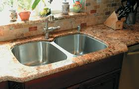 Crema Bordeaux Granite Kitchen Picturesque Chrome Double Undermount Washbasin Also Double Handle