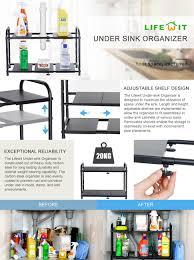 Kitchen Sink Shelf Organizer Amazoncom Lifewit Under Sink Organizer Carbon Steel 2 Tier