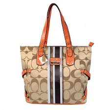 Best Style Coach In Signature Logo Medium Khaki Totes Bff Outlet 2HSfw