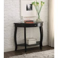 Black sofa table with drawers Couch Yvonne Halfmoon Console Table With Drawer In Antique Black Overstock Shop Yvonne Halfmoon Console Table With Drawer In Antique Black