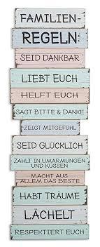 Levandeo Xxl Wandschild B X H X T 40x116x25cm Holz Familienregeln Familie Sprüche Wandbild Shabby Chic Vintage Pastellfarben