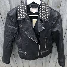 details about michael kors womens studded faux leather moto jacket black s small