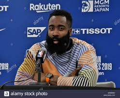Saitama, Japan. 08th Oct, 2019. Houston Rockets' Shooting guard James Harden  attends a press conference after match between the Houston Rockets and the  Toronto Raptors of the