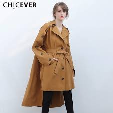 best chicever off shoulder trench coat female women s windbreaker loose big size long sleeve autumn basic coats fashion casual new under 89 1 dhgate com
