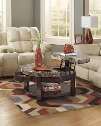 round lift top coffee table faux marble occasional tables