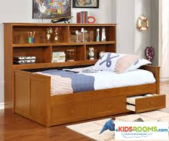 Twin Size Bookcase Captains Daybed Pecan | Allen House | Kids ...