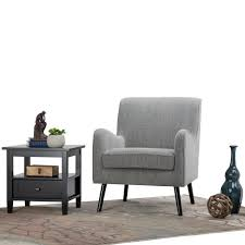 Living Room Club Chairs Simpli Home Dysart Grey Tweed Fabric Club Arm Chair Axcchr 014