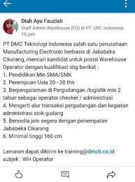 We would like to show you a description here but the site won't allow us. Lowongan Kerja Pt Dmc Teknologi Indonesia Kawasan Industri Jababeka Cikarang Random Email Loker
