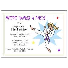 Birthday Invitation Pictures Adorable Karate Or Martial Arts Girl Birthday Party Invitation Kick Design