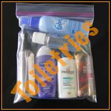 travel size toiletries in clear plastic small zipped bag are allowed in carryons