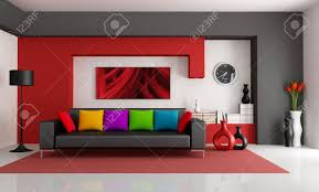 modern living room black and red. Red White And Black Modern Living Room With Couch - Rendering- The Art Picture O