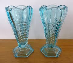davidson chevron art deco vintage blue pressed glass vases