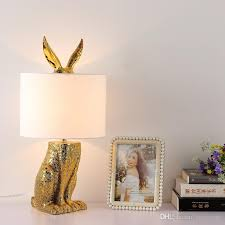 Animal table lamp Porcelain 2019 Modern Golden Resin Rabbit Table Lamps Creative Animal Bedside Lamp Bedroom Study Room Fancy Table Light Kids Room Desk Night Lamp From Honystore Zazzle 2019 Modern Golden Resin Rabbit Table Lamps Creative Animal Bedside