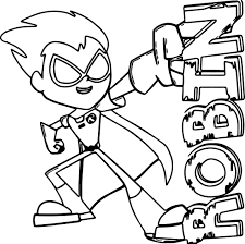 Small Picture Teen Titans Go Robin Coloring Pages Wecoloringpage