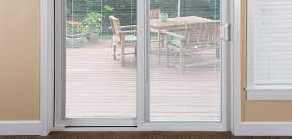 sliding patio door with blinds between