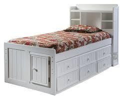 Birch Wood Twin Bookcase Headboard Storage Bed & Storage Trundle in White Finish