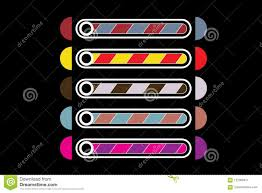 Layouts Downloads A Set Of Five Bands Of Downloads Of Different Colors Stock Vector