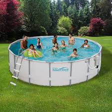 15 ft round 48 in deep metal frame swimming above ground pool