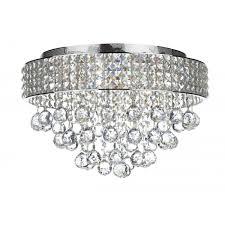 matrix 5 light flush ceiling chrome and crystal glass ceiling light