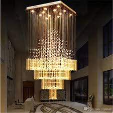 brilliant ceiling modern k9 crystal chandelier lights square led pendant lamp stair staircase home living room lighting ceiling light fixtures glass and n