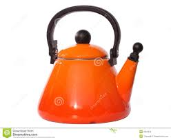 orange tea kettle stock images  image