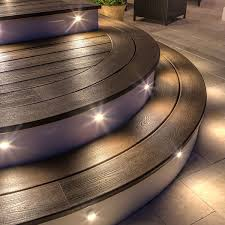 recessed riser led light by trex decklights hammered bronze