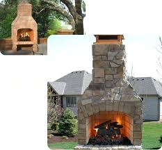 outdoor fireplace pizza oven combo kits insert
