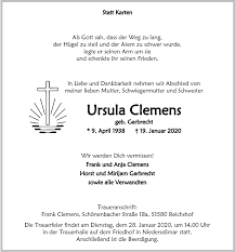 Traueranzeigen von Ursula Clemens | WirTrauern