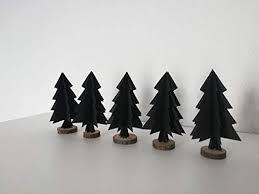 5er Set Papierornamentetannenbaum Aus Wahlweise Schwarzem