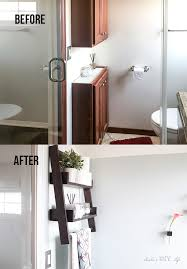 before and after comparison of the wall with cabinets in the small bathroom remodel on a