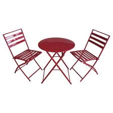 metal bistro set. Milan Folding Metal Bistro Set, Red Set