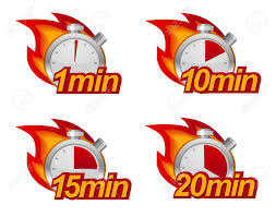 Timer 1 Mins 1 Minute 10 Minutes 15 And 20 Minutes Timers With Fire On Background
