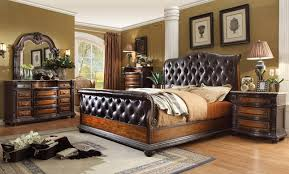 brown leather bedroom furniture. Angelina Antique Brown Button Tufted Leather Bedroom Set Marble Tops Furniture N