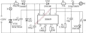ss0619 based touch sensitive step dimmer circuit