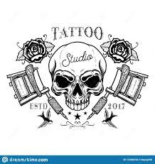 Tattoo Studio Emblem Template Crossed Tattoo Machine Skull Roses