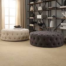 Knightsbridge Round Linen Tufted Cocktail Ottoman with Casters  Upholstered  Ottoman Coffee TableStorage ...