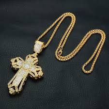 whole hot s fashion design cross pendant necklaces for men brand luxury hip hop cross necklace 18k gold plated jewelry pendant necklaces uk long