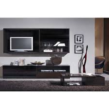 Wenge Living Room Furniture Silver Collection Wenge Lcd Wall Cabinet With 3 Shelves