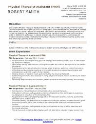 Resume For Physical Therapist Physical Therapist Assistant Resume Samples Qwikresume