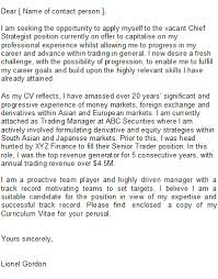 sample trader cover letter speculative covering letter examples