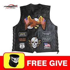 2019 new genuine leather motorcycle vest men punk retro classic style 23 patches motorcycle jacket biker club casual vest clothing from cujuflo